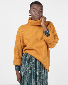 Brave Soul Ribbed Jumper With Roll Neck Gold