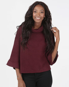 Brave Soul Cowl Neck Jumper Mulberry