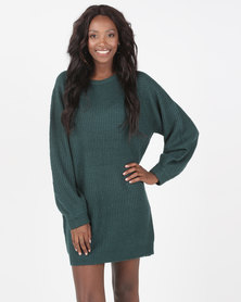 Brave Soul Crew Neck Fisherman Rib Jumper Dark Green