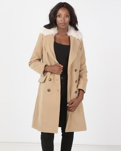 Brave Soul Faux Wool Double Breasted Coat with Detachable Faux Fur Collar  Camel