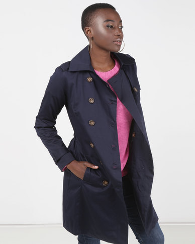 Brave Soul Classic Mac Double Breasted Navy