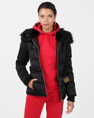 Brave Soul Short Length Sateen Coat with Faux Fur Collar Black