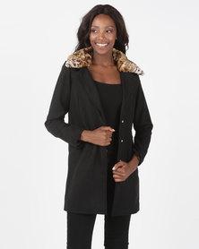 Brave Soul Faux Wool Jacket With Detachable Leopard Print Faux Fur Collar Black