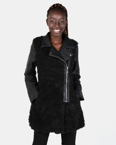 Brave Soul Mid Length PU Jacket With Faux Fur Body Black
