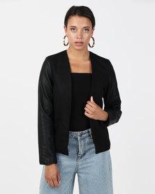 Brave Soul Faux Wool Melton Blazer Black