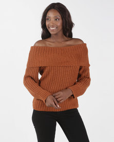 Brave Soul Off The Shoulder Loose Fisherman Jumper Gingerbread