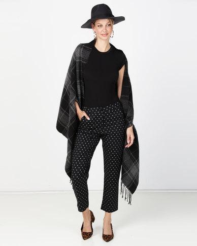 Brave Soul Tartan Blanket Scarf With Armholes Black