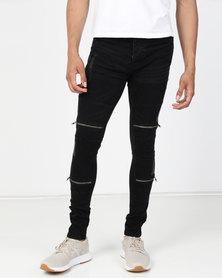 Brave Soul Charcoal Wash Abrasion Denim Skinny Jean