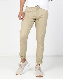 Brave Soul Cotton Twill Stretch Chino Stone