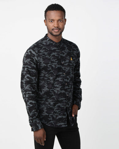 Brave Soul Long Sleeve Mandarin Collar Camo Shirt Charcoal