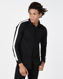 Brave Soul Long Sleeve Shirt With Shoulder Contrast Black