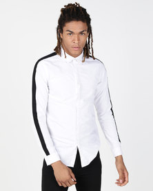 Brave Soul Long Sleeve Shirt With Shoulder Contrast White