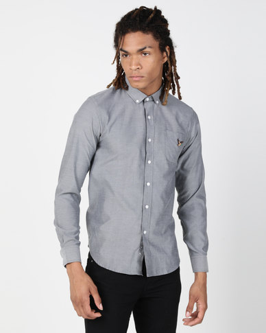 Brave Soul Long Sleeve Shirt With Duck Embroidery Charcoal