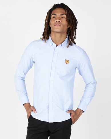 Brave Soul Long Sleeve Shirt With Tiger Embroidery Pale Blue