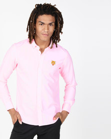 Brave Soul Long Sleeve Shirt With Tiger Embroidery Pink