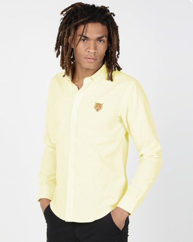Brave Soul Long Sleeve Shirt With Tiger Embroidery Lemon