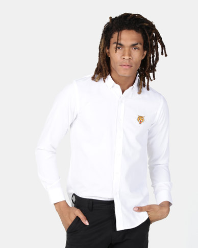 Brave Soul Long Sleeve Shirt With Tiger Embroidery White