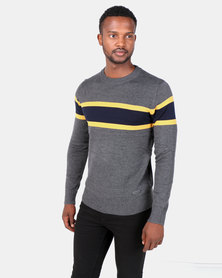 Brave Soul Crew Neck Jumper With Contrast Colour Stripe Grey