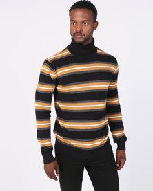 Brave Soul High Role Neck Stripe Jumper Black/Multi