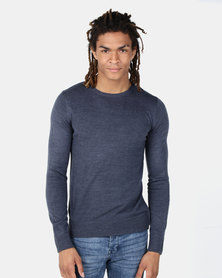 Brave Soul Crew Neck Jumper Denim Marl