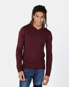 Brave Soul V Neck Jumper Burgundy