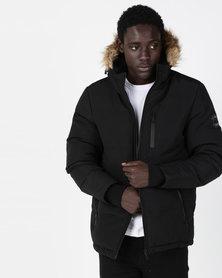 Brave Soul Padded Hooded Jacket Black