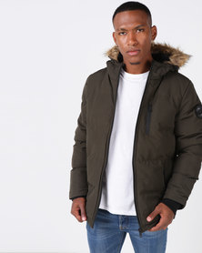 Brave Soul Padded Hooded Jacket Khaki
