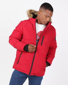 Brave Soul Padded Hooded Jacket Red