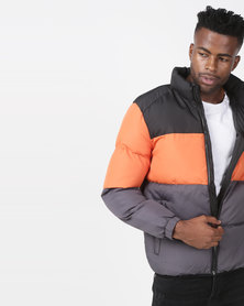 Brave Soul Colour Block Padded Jacket Black