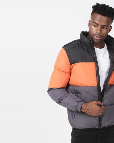 Brave Soul Colour Block Padded Jacket Black