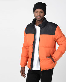 Brave Soul Padded Jacket With Contrast Upper Orange