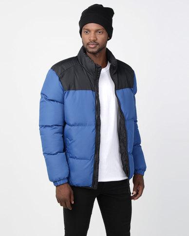 Brave Soul Padded Jacket With Contrast Upper Cobalt