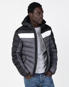 Brave Soul Colour Block Hooded Padded Jacket Black