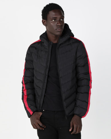 c6cf145dd5a4 Brave Soul Padded Hooded Jacket With Sleeve Stripe Black