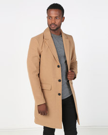 Brave Soul Formal Single Breasted Coat Camel