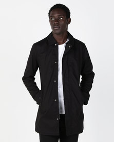 Brave Soul Bonded Cotton Mac Jacket Black