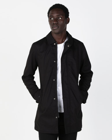 Brave Soul Bonded Cotton Mac Jacket Black
