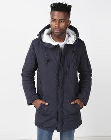 Brave Soul Hooded Fishtail Parka Jacket Navy