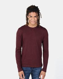 Brave Soul Long Sleeve Crew Neck T-Shirt Burgundy