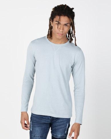 Brave Soul Long Sleeve Crew Neck T-Shirt Blue