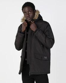 Brave Soul Parka With Faux Fur Trim Hood Black