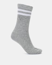 Brave Soul Stripe 3 Pack Stripe Socks Black/Grey/Charcoal