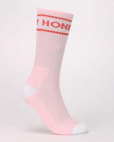 Brave Soul Honey 3 Pack Slogan Detail Socks