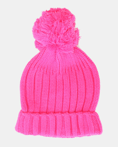 Brave Soul Everlyn Ribbed Beanie With Bobble Hot Pink