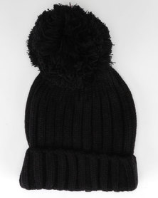 Brave Soul Everlyn Ribbed Beanie With Bobble Black