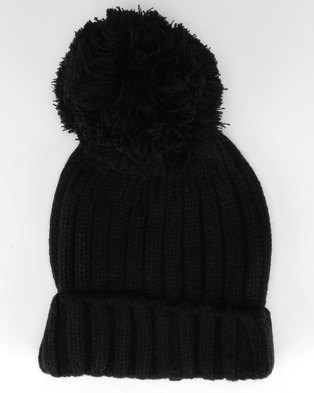 6d81f7a854f Brave Soul Everlyn Ribbed Beanie With Bobble Black