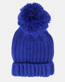 Brave Soul Everlyn Ribbed Beanie With Bobble Sapphire Blue