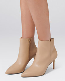 Forever New Blair Pointed Mid Heel Boot Nude