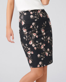 Forever New Carla Pencil Skirt Rose Floral