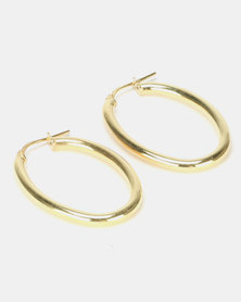 Yellow Jewellery Oval Hoops Gold Plated